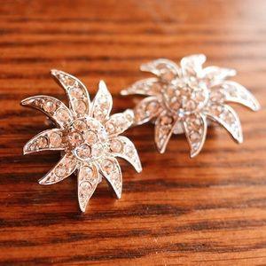 Silver Jeweled Flower Clip Earrings